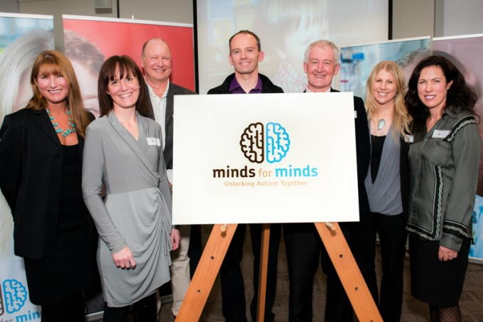 ARNNZ members flank the 'Minds for Minds' logo. L-R: Associate Professor Karen Waldie (CBR), Dr Johanna Montgomery (CBR), Professor Ian Kirk (CBR), Dr Mike Taylor, Professor Russell Snell (CBR), Dr Jessie Jacobsen (CBR), and Dr Rosamund Hill